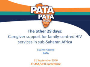 The other 29 days - Caregiver support for family-centred HIV services in Sub-Saharan Africa
