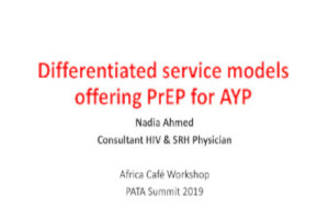 Differentiated service models offering PrEP for AYP
