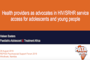 Health providers as advocates in HIV/SRHR service access for adolescents and young people