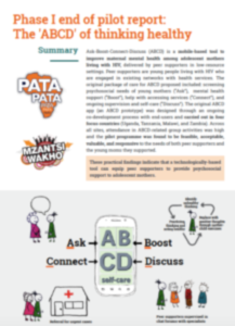 Phase I end of pilot report: The 'ABCD' of thinking healthy