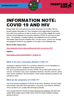 Information note: COVID-19 and HIV