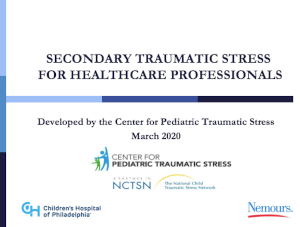 Secondary traumatic stress for healthcare professionals