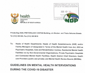 South African guidelines on mental health interventions during the COVID-19 disaster