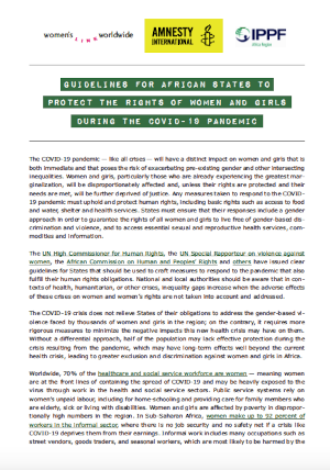 Guidelines for African States to protect the rights of women and girls during the COVID-19 pandemic