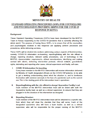 Kenya: Standard Operating Procedures (SOPs) for counsellors and psychologists providing MHPSS for the COVID-19 response