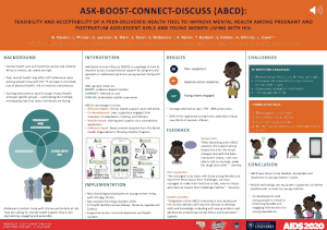 ASK-BOOST-CONNECT-DISCUSS (ABCD): Feasibility and acceptability of a peer-delivered health tool to improve mental health among pregnant and postpartum adolescent girls and young women living with HIV