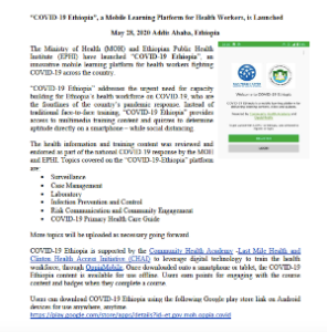 """""""COVID-19 Ethiopia"""", a Mobile Learning Platform for Health Workers, is Launched"""