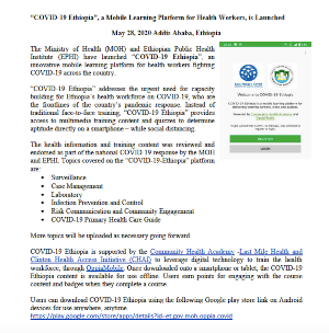 """COVID-19 Ethiopia"", a Mobile Learning Platform for Health Workers, is Launched"