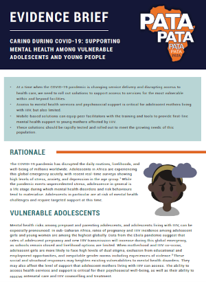 Evidence brief: Caring during COVID-19: Supporting mental health among vulnerable adolescents and young people