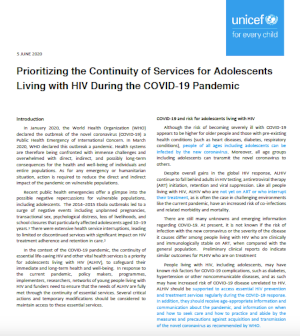 UNICEF: Prioritizing the Continuity of Services for Adolescents Living with HIV During the COVID-19 Pandemic