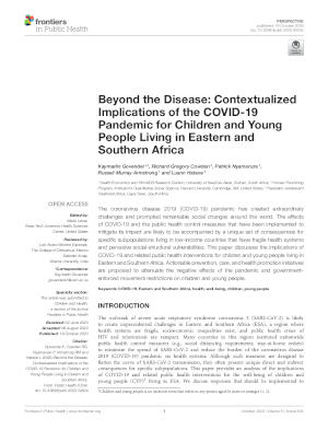 children youth and covid-19 in ESA